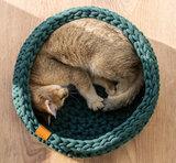 Design kattenmand grofgehaakt katoen, Sunny basket - Donkergroen