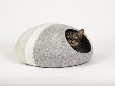 Vilten kattenmand Streep - lichtgrijs