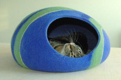 Vilten kattenmand Blauw